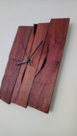 Handmade rustic reclaimed wood wall clock - 33x20.5x2.5cm - unique / one of a kind