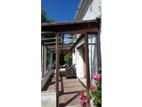 Porch conservatory roof metal supports and frame