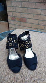 Fashion shoes size 5, with 4inch heel, black with brass coloured detail