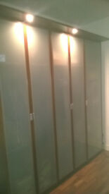 modern tall opague glass door wardrobes 800mmX600mmX2360mm