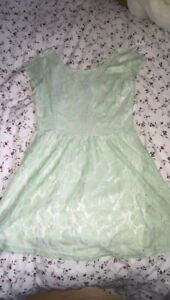 Mint colour floral dress
