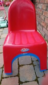 Two Sizzlin Cool stacking plastic childrens chairs red and blue