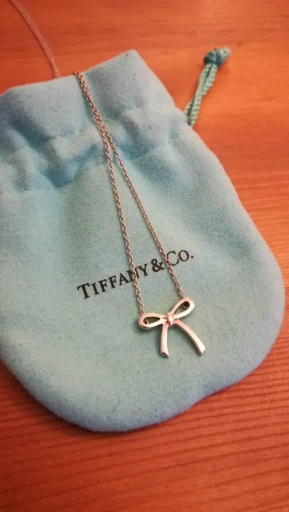 Tiffany co bow ribbon sterling silver pendant necklace in tiffany co bow ribbon sterling silver pendant necklace aloadofball Gallery