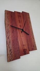 Handmade rustic reclaimed wood wall clock - 33x20x2.5cm - unique / one of a kind