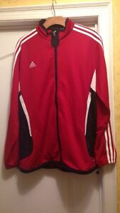 Red and black Adidas zip up jacket