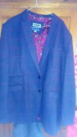 Fab Purple Tweed jacket with red window pane check XXL 48