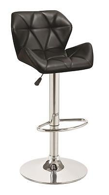 Adjustable Black and Chrome Stitched Bar Stool  by Coaster 100425 - Set of 2