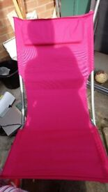 2 Pink garden chairs sun loungers