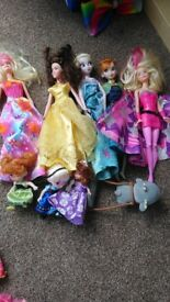 Bundle of various barbie, polly pocket and disney toys