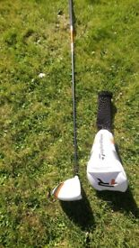 Right hand, TaylorMade R1 driver with 55g RIP Phenom stiff shaft (no wrench)