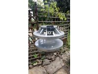 Bird table talking point! Up-cycled timber zero gravity effect UFO with night light feature!