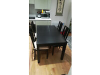 IKEA BJURSTA Extendable Dining Table (Brown-black ) + 4 BÖRJE Chairs
