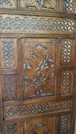 CARVED Wood Indian Arabic Room Divider Screen
