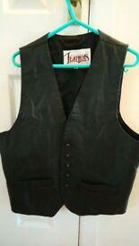 leather waistcoat biker size 40