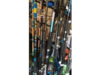 over 20 boat and uptider fishing rods all going for a tenner each