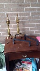 Antique Sheffield brass and wrought iron fireplace andirons