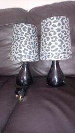 2 bedside grey leopard print lamp lamps