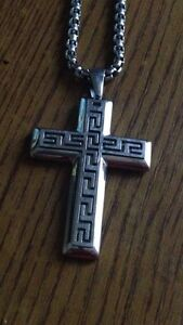 Silver cross chain $40