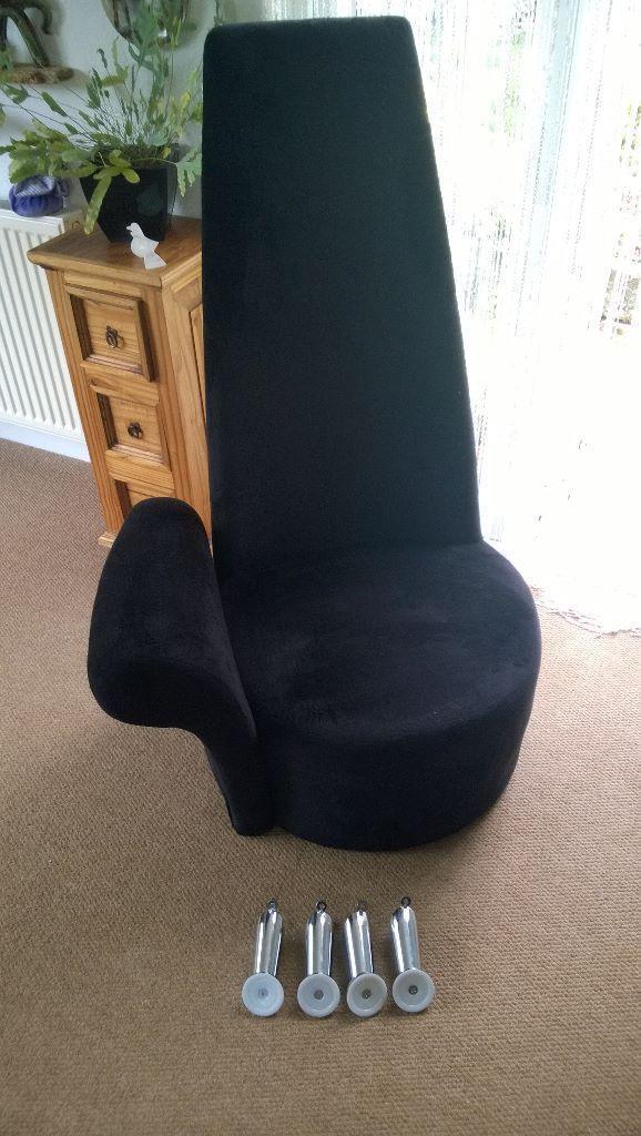 Merveilleux High Back Chair , Black Velvet Type, One Arm