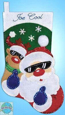 Felt Embroidery Kit Design Works So Cool Santa Christmas Stocking Dw5086