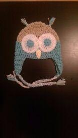 Crochet handmade owl beanie