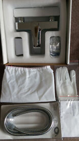 """HUDSON REED """"HR"""" MOUNTED HIGHLY POLISHED CHROME BATH AND SHOWER TAP SET"""