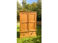 Large shaker style pine wardrobe with 2 drawers below