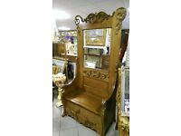 Large monks style bench with back mirror