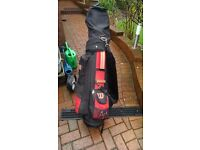 Golf equipment - trolley + bag + clubs + balls