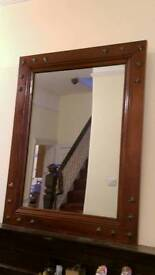 Rustic mahogany wooden framed mirror with metal stars 90x70cm
