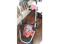 Buggy £100 ,mothers basket £15 , bouncers 30 ,baby mattress 20
