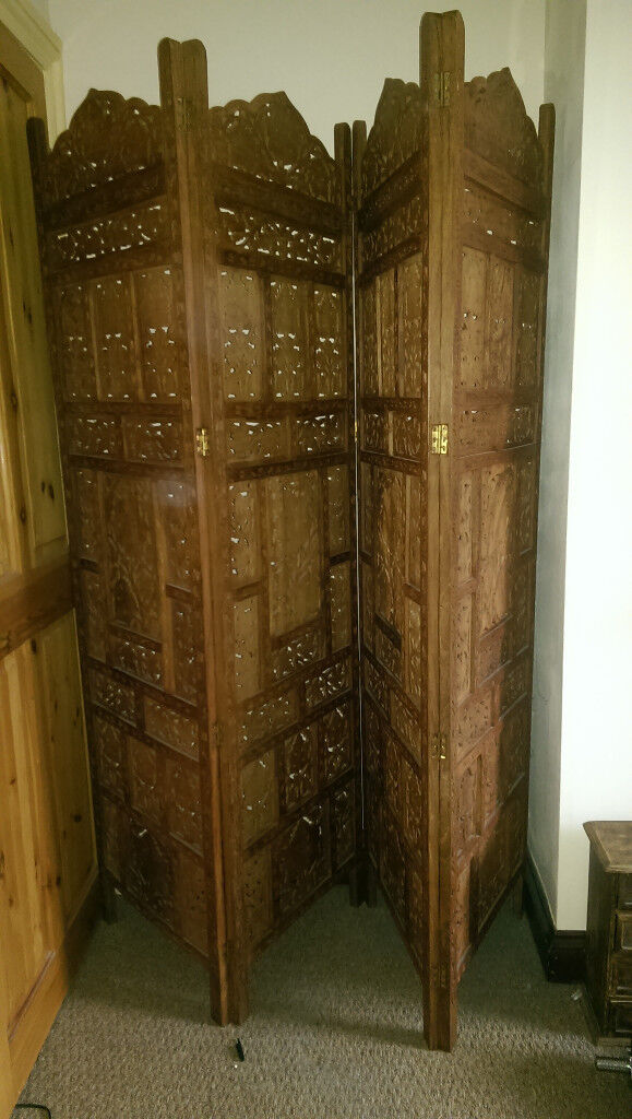 Vintage Hand Carved Solid Wood Screen with Floral Pattern.