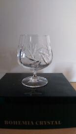 6 x Bohemia Pinwheel Symphony Collection Lead Crystal Brandy Glasses
