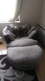 Cuddle swivel sofa and footstool
