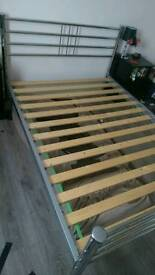 Double bed frame chrome metal