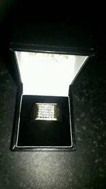 9 carat gold diamond signet ring