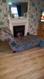 Beautiful large grey & teal Chaise Lounge chair sofa, fantastic used condition