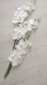 3 x Artificial Butterfly white Orchid Silk Fake Flower /free delivery