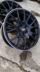 Set of 4 19 inch black alloy wheels 5x112 VW Audi