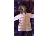 lovely baby pink parka style puffa coat age 6-7 yrs with faux fur hood and belt