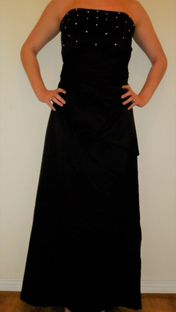 Forever Yours Black Eveningprom Dressshawl Linedboned Size1416