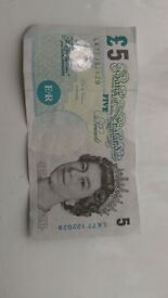 Old style Fiver banknote Collectable