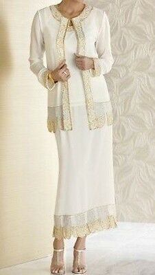 Mother of Bride Groom Women's Wedding beaded 3PC skirt suit dress plus 3X $180