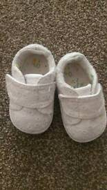 Next white trainer style pram shoes 0-3 months