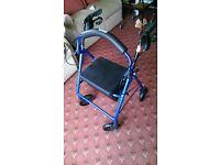 4 Wheeled Walker with Seat Walking Frame Zimmer Walking Aid