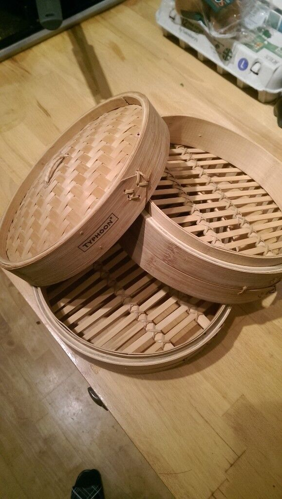 20 cm Typhoon Bamboo Steamer - 2 tiers with lid - New