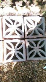 12 X Decorative, retro concrete blocks. For garden wall or screen