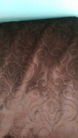 Fabric remnant - Floral Damask Velvet Curtain or Upholstery Fabric - Brown - 6m available