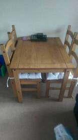 Mexican oak table and 4 chairs