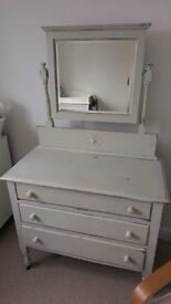 Dressing table - shabby chic, 3 drawer with mirror